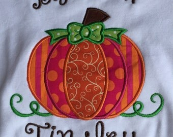 Pumpkin appliqued shirt