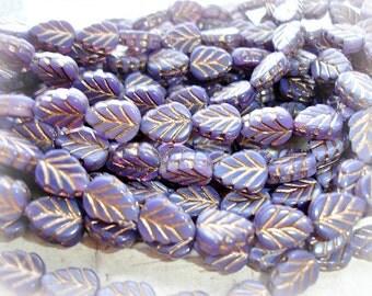 10 African Violet Purple Gold Leaf Beads