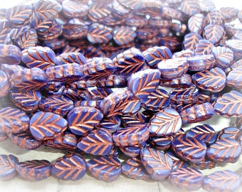 10 Midnight Navy Blue & Copper Leaf Beads