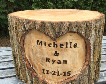 Large Log Wood Stump (13-14in) Rustic Cake Stand with wood burned Names and Date surrounded by a heart Wedding party shower wooden