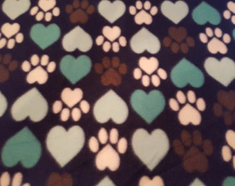 Hearts and Paws Fleece Dog Blanket