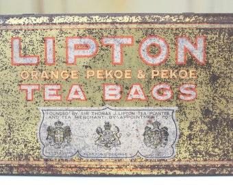 Vintage Lipton Tea Bags Tin Lipton Orange Pekoe Can Vintage Rustic Tin Vintage Metal Tin Vintage Container Vintage Can Advertising Kitchen