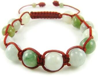 BB0350N China Jade Multicolors Natural Crystal Shamballa Chinese Knot Bracelet