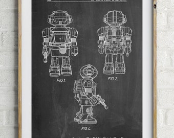 Toby Talking Toy Robot Patent Poster, Game Room Wall Art, 80s Decor, Toy Room Art, Retro Toys, PP1101