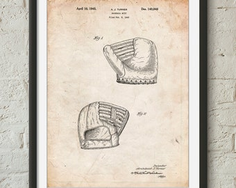 A.J. Turner Baseball Mitt Patent Poster, Antique Baseball, Boys Room Wall Art, Baseball Coach Gift, Vintage Baseball Decor, PP0538