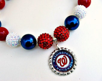 Washington Nationals Necklace, Washington Nationals Jewelry, Sports Jewelry, Baseball Jewelry, Baseball Necklace, Baseball Mom, Nats