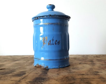 1930's French Kitchen blue CANISTER/ French enamelware/ French decor /French kitchen / Shabby chic/ Rustic