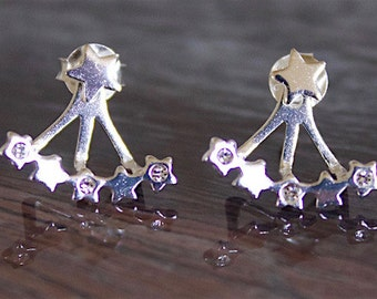Star Stud with Alternating Polished and Crystal Accented Stars Front-Back Earrings 925 Sterling Silver — ES-APS1598