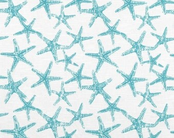 Blue and White Starfish Fabric, Premier Prints Sea Friends Coastal Blue, Beach Decor Fabric, Coastal Fabric - By the yard - SHIPS FAST