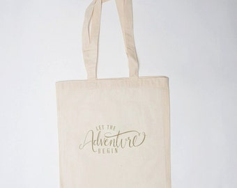 Let the Adventure Begin Bag (10), Wedding Welcome Bag, Canvas Tote, Wedding Guest Bag, Gift Bag, Wedding Hotel Bag, Wedding Favor Bag