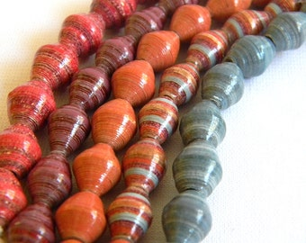 Paper Bead Jewelry Supplies - Paper Beads - Hand painted - Lot of 50 - #B401