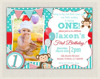 Boys Blue and Red Monkey 1st Birthday Invitation / Printable Download / First Birthday Monkey Invitation Invites Blue Red Bunting