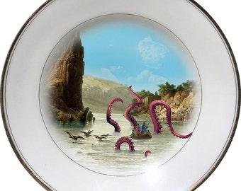 Kraken Attack - Octopus - Squid - Vintage Porcelain Plate - #0445