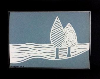 Wall Art - 2 Trees - Papercut - OOAK