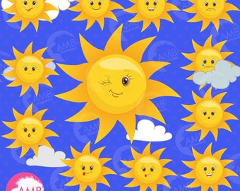 Sun clipart, Smiley Face, Feelings Clipart, Sun Emoji Clipart, Sun emoticons, Feelings Clipart, commercial use, AMB-1395
