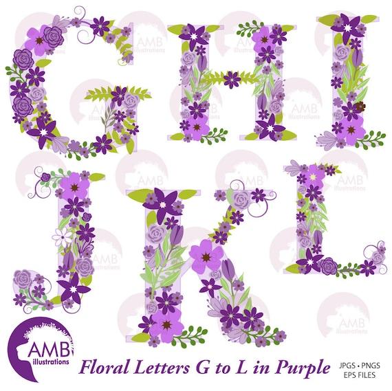 Floral Alphabet Clipart Shabby Chic Alphabet Purple Floral