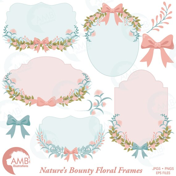 Floral Frames Botanical Clipart Wedding Forest Labels Shabby Chic Garland Wild Flowers AMB 1479