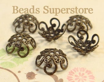 10 mm x 4.5 mm Antique Brass Flower Bead Cap - Nickel Free and Lead Free - 20 pcs
