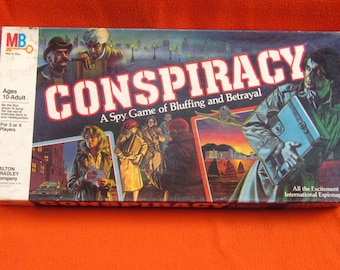 CONSPIRACY Vintage SPY BOARDGAME Top Secret Game of Bluffing & Betrayal-Milton Bradley 1982  Good Condition-Collectible