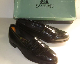 Vintage Men's Black Fringe Leather STAFFORD DRESS LOAFER-8 M All Leather Upper & Sole
