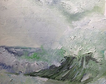 Original Seascape with Crashing Waves in Oil