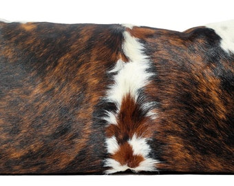 Cowhide Pillow, Cow Hide, Brindle, Tricolor, Leather, Fur, Lumbar Pillow, Rustic, Exotic, Western, Southwestern, Handmade, ONE OF A KIND