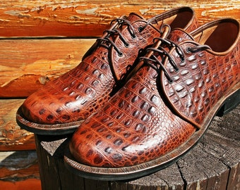 Men Brown Leather Crocodile-Embossed Derby Shoes