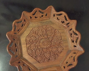 Vintage indian carved tray