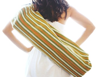 1 Zip Hand Woven Yoga Mat Bag - Green & Orange