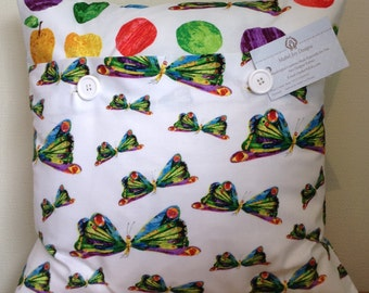 The Hungry Caterpiller/Spot Butterfly Cotton Cushion Cover 40cm x 40cm