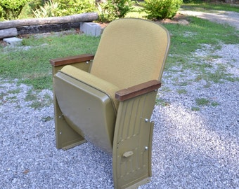 Vintage Movie Theater Seat Metal Upholstered Seat and Back Folding Chair PanchosPorch