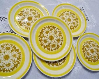 Vintage Dessert Plate Set of 6 Jamestown China Yellow Daisy Design Summer Decor  PanchosPorch