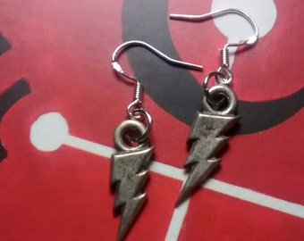 Pearl Jam inspired Earrings - Lightning bolt on sterling silver wire