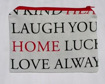 Inspirational words fabric zipper pouch/ purse/ bag