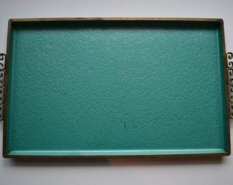 Rare Mid Century Art Deco Moire Glaze Kyes Barware Serving Tray in Teal Enamel & Bronze