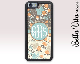 Cloudberry Floral iPhone 5 Case, Personalized Monogram iPhone 5S Case, Pretty Floral Summer 1218 I5S