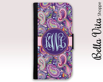 Monogram iPhone 6 Wallet Case, iPhone Wallet Case, iPhone Wallet Leather, iPhone 6S Wallet Case, Monogrammed iPhone Case Purple Paisley I6W