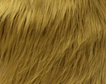 """Faux Fur Long Pile Shaggy CARAMEL / 60"""" Wide / Sold by the yard"""