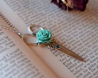 Scissor Necklace with Seafoam Green Rose//Hair Dresser//Hair Stylist//Seamstress Jewelry