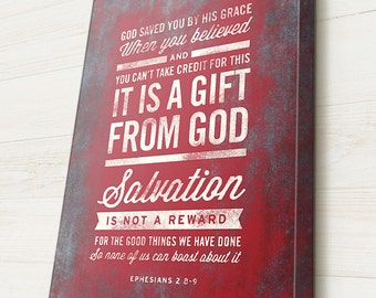 Bible Verse on Canvas, Typography, Scripture Wall Art, Ephesians 2:8-9,  Pick your own colors, Premium Canvas