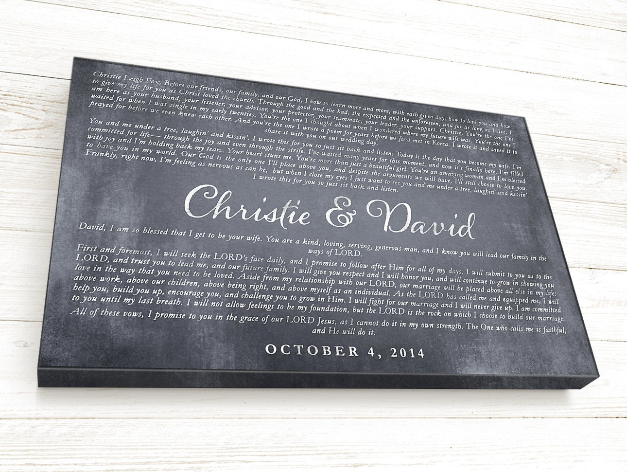 Wedding Ceremony Gift: Personalized Wedding Vow Gift Wedding Vows Canvas Wedding