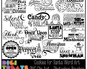 50% OFF Cookies For Santa Word Art + Photoshop Brushes, Christmas Word Overlays, Scrapbooking embellishment, Card Making,