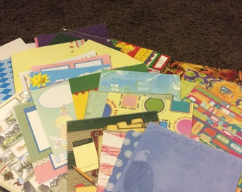 Lot - 250 plus - all 12x12 scrapbook pages all colors ,themes , glitter pages,some stickers & embellishments