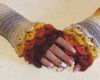 crochet gloves Fingerless Crocheted Gloves women fingerless gloves Dragon Scale women's gloves women's Arm Warmers winter gift Accessory