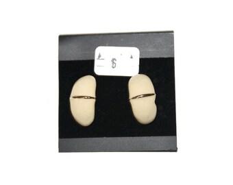 Vintage Off White Stud Earrings, Statement Earrings, Geo Earrings, White Earrings