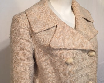 Vintage Spring Coat Jacket Cream Ivory Herringbone Medium M Double Breasted Mod Mad Men