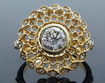 9ct Yellow gold flower halo ring