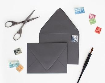 Envelopes - A7 Size - Set of 25 - Graphite Color - Deep V Euro Flap