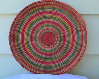Sale: Vintage Native American Coil Weaved Basket, Platter, Bowl