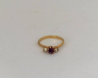 Vintage Jewelry Purple & White Rhinestone Adjustable Ring Size 4.5